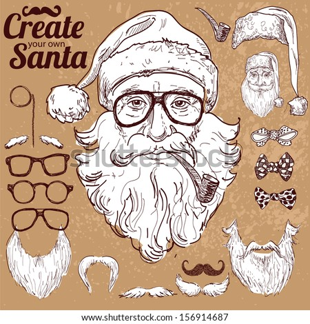 Create your own hipster Santa, vector illustration hand drawn on vintage background, hipster design elements, xMas card - stock vector