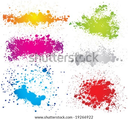 Createve set of inkblot silhouettes. vector - stock vector