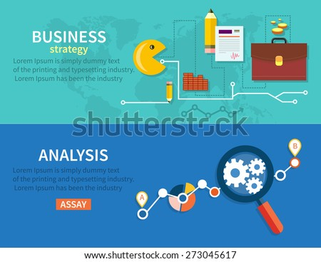Creating business strategy plan, generating report. Growth chart with magnifying glass focusing on point. Representing success and financial growth. Graphical analysis in flat design style - stock vector