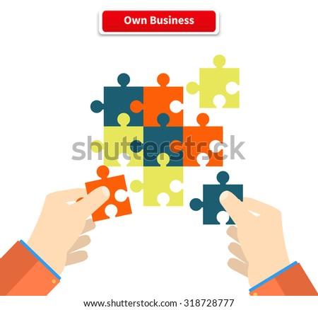 Creating or building own business concept. Puzzle piece, construction and development, build construct, idea and success, solution and growth, challenge and jigsaw illustration - stock vector
