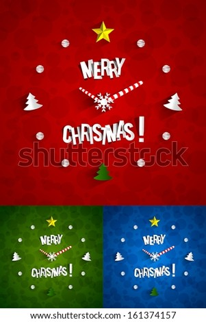 Creative Abstract Christmas Clock with transparent shadows vector illustration - stock vector