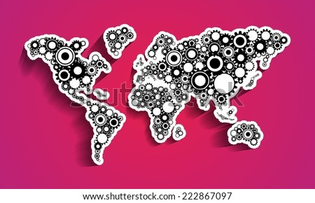 Creative Abstract Cog Wheels World Map vector illustration - stock vector