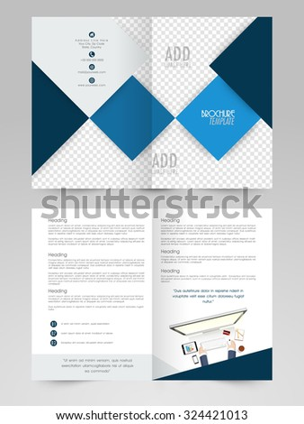Creative abstract design decorated professional Two page Business Brochure, Flyer, Banner or Template with illustration of a human working on digital device. - stock vector