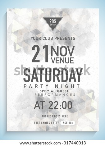 Creative abstract flyer, template or banner design with date, time and other details for Party Night.  - stock vector
