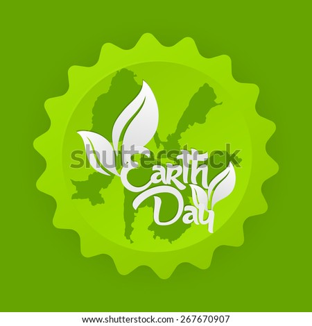 Creative abstract for Earth Day with nice and creative pair of leaf in a globe in a beautiful green colour background. - stock vector