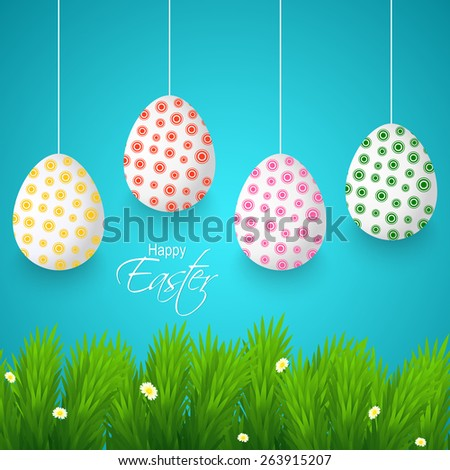 Creative Abstract for Happy Easter with multicolour and pattern on hanging eggs with nice grassy land and blue colour in a background.   - stock vector