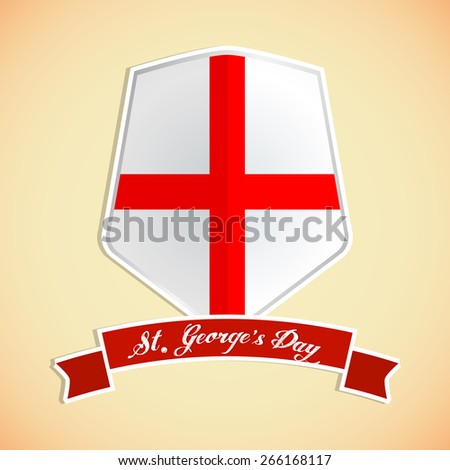 Creative abstract for St George Day with Shield Contains England Flag in a creative light golden color background. - stock vector