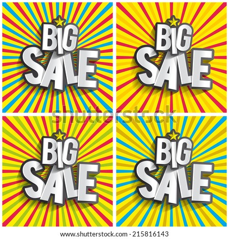 Creative Abstract Hard Discount Big Sale On Radial Rays Backgrounds vector illustration - stock vector