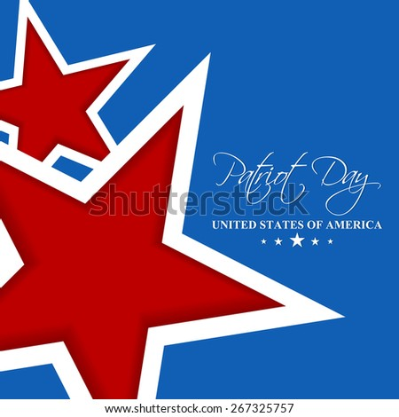 Creative abstract of Patriot Day with two red colour star in a blue colour background. - stock vector