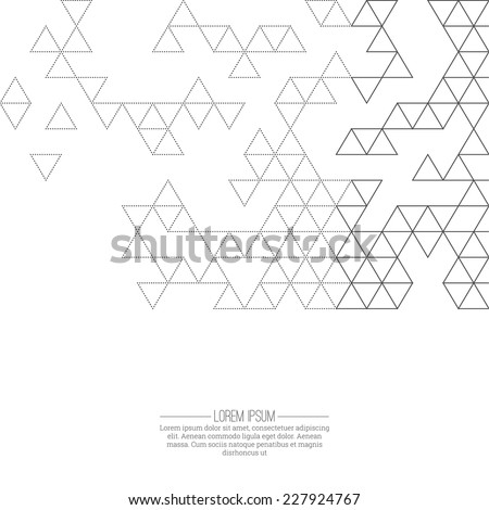 Creative abstract triangle pattern. Polygonal mosaic  background. Hipster cover. For packaging, fabric, decoration, websites, printing, booklet, flyer, banner,   - stock vector