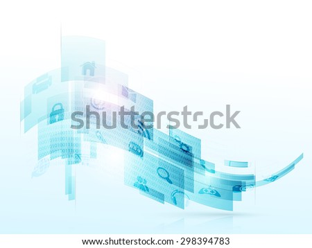 Creative abstract waves with various web icons on shiny background for technology concept. - stock vector