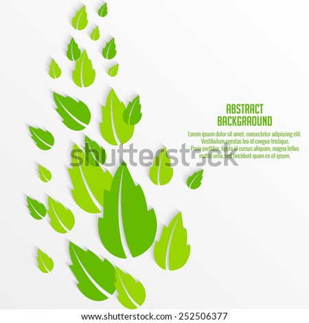 Creative Abstract with row of green leafs for ECO  - stock vector