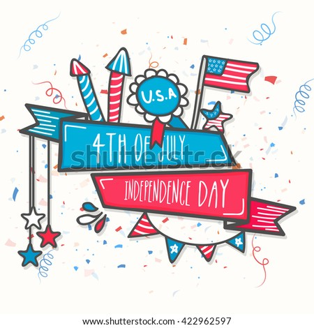 Creative American Flag colors Ribbon with stylish text 4th of July, Independence Day and different elements on grey background. - stock vector