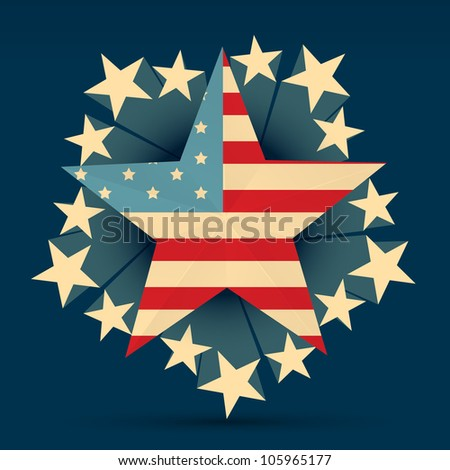 creative american flag with stars around it - stock vector