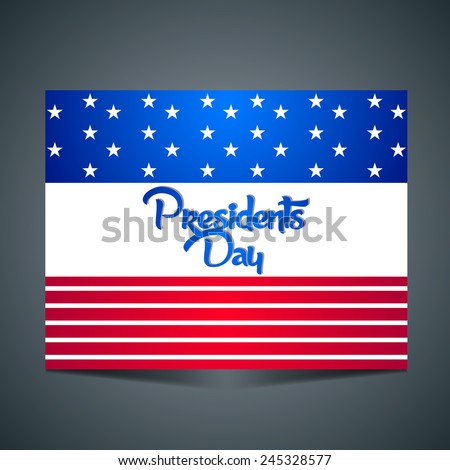 Creative and beautiful Abstract for President Day flag with grey background - stock vector