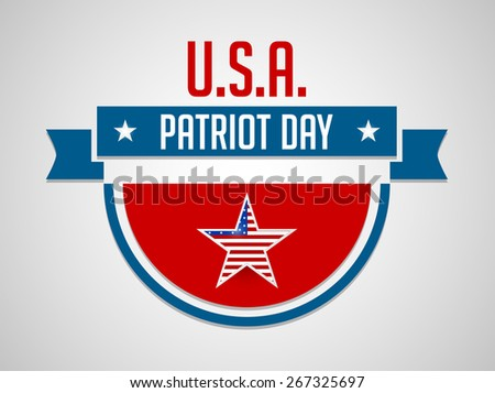 Creative and beautiful badge style of Patriot Day with nice and creative star and  grey colour background. - stock vector