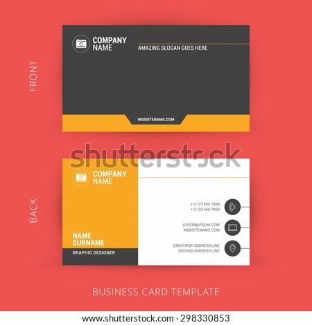 Creative and Clean Business Card Template. Flat Design - stock vector