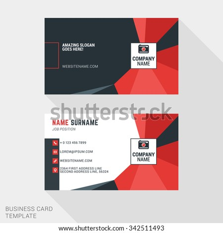 Creative and Clean Business Card Template in Red and Black Colors with Polygonal Background Element. Flat Style Vector Illustration - stock vector