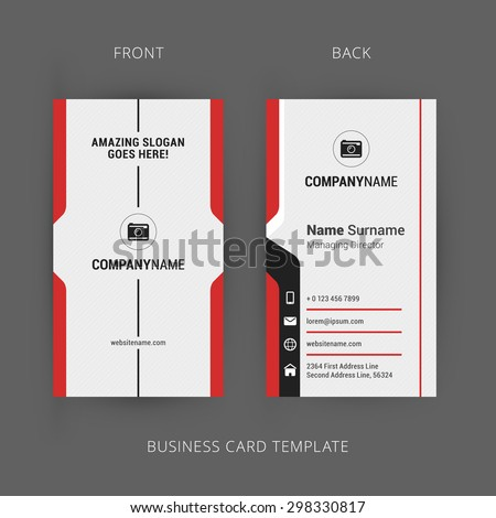 Creative and Clean Business Card Template. Vertical Template - stock vector