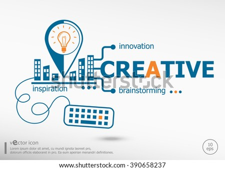 Creative and marketing concept. Performance concept for application development, creative process. - stock vector