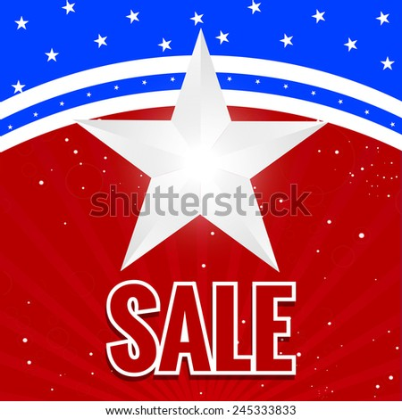 Creative and nice President day sale Abstract with blue and red background - stock vector