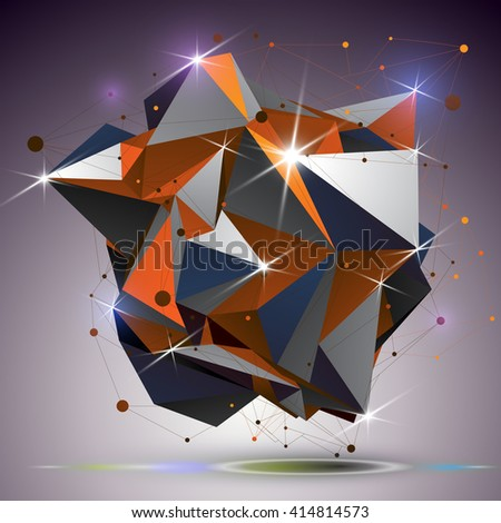 Creative asymmetric polished object with lines mesh. 3d colorful shiny complicated engineering abstraction with lights effect. Bright netting modeling element. - stock vector