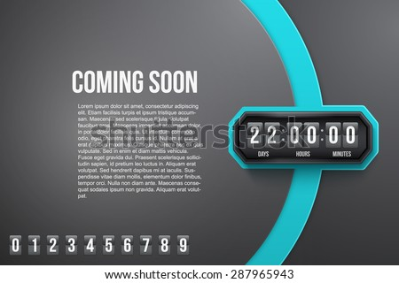 Creative Background Coming Soon and countdown timer with digit samples. Vector Illustration isolated on white background. - stock vector