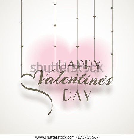 Creative background for Happy Valentines Day celebration concept with stylish calligraphy of text Happy Valentines Day on heart shape decorated background.  - stock vector
