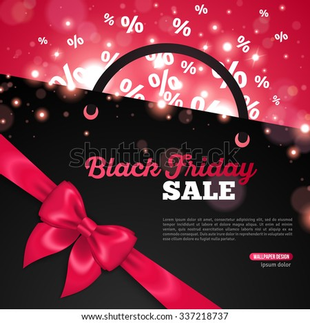 Creative Black Friday Banner Template with Place for Promotional Text. Vector Illustration. Percent Symbols flying away from Black Shopping Bag. Pink Shining Ribbon  Bow. Festival Lights, Bokeh - stock vector