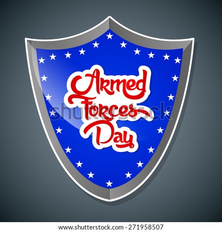 Creative Blue colour Shield for US Armed Force Day with nice and creative grey colour background. - stock vector