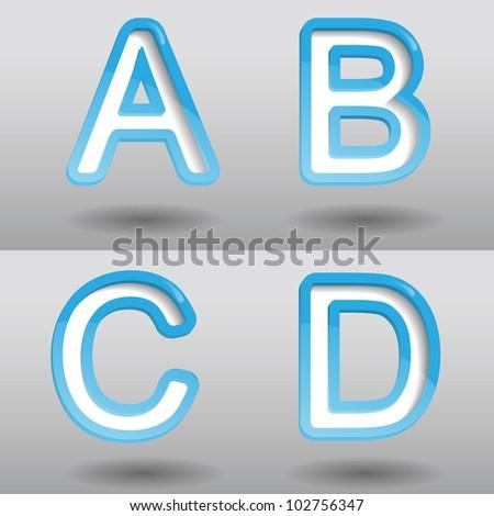 Creative blue modern vector abc set design - stock vector