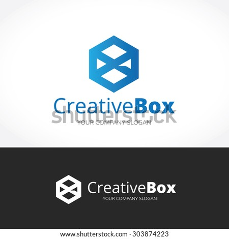 Creative Box,x logo,Vector Logo Template - stock vector