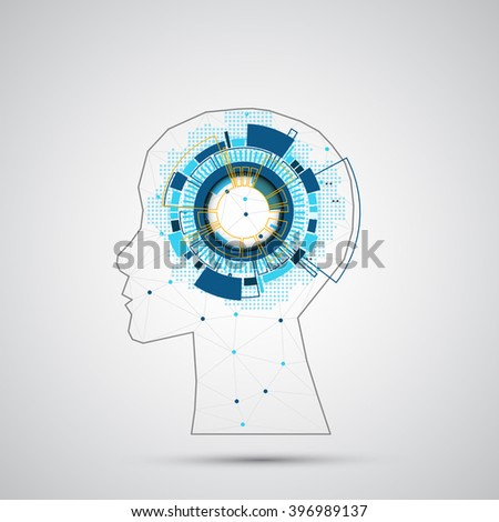 Creative brain concept background with triangular grid. Artificial Intelligence concept. Vector science illustration - stock vector