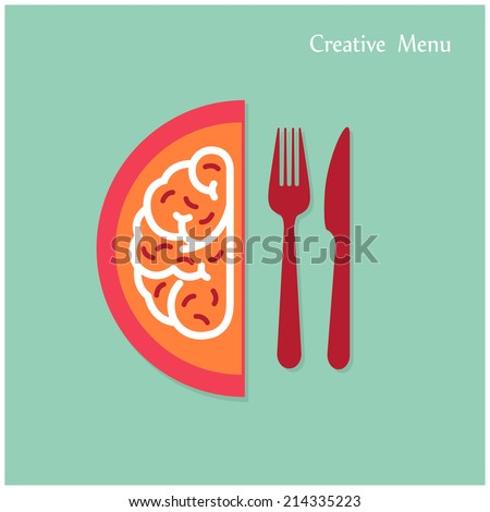 Creative brain Idea concept with fork and knife sign on background. Creativity menu concepts, business concept.Vector illustration - stock vector
