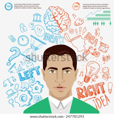 Creative brain Idea. Vector concept. Textured background. Sciences and arts. Back to school icons. Left and right brain functions. - stock vector