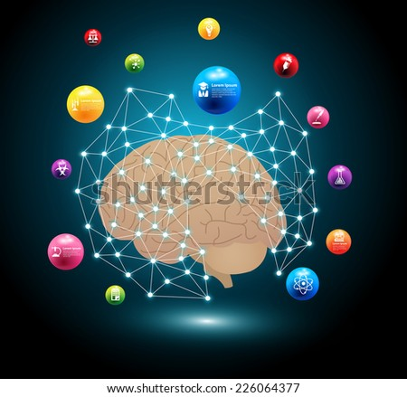 Creative brain network idea concept, With model of atom with chemistry and science icons education, Vector illustration modern design template, workflow layout, diagram, step up options - stock vector