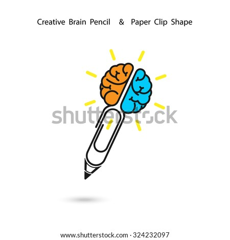 Creative brain pencil logo design,Paper clip sign.Concept of ideas inspiration, innovation, invention, effective thinking, knowledge. Business and Education concept.Vector illustration - stock vector