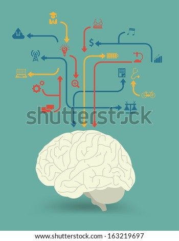 Creative brain power for different purposes with icon idea concept, Vector illustration modern design template, workflow layout, diagram, step up options - stock vector