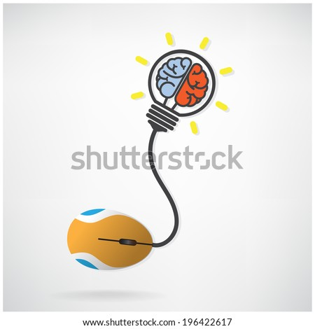 Creative brian icon in  light bulb symbol with computer mouse sign on background,design for poster flyer cover brochure ,business idea ,abstract background.vector illustration  - stock vector