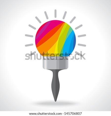 creative bulb paint brush idea - stock vector