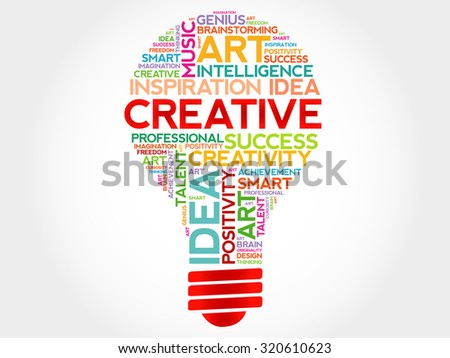 Creative bulb word cloud concept - stock vector