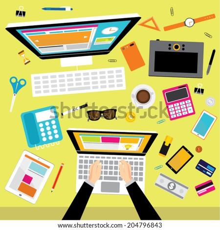 Creative Business and Social Network Conceptual Vector Design - stock vector