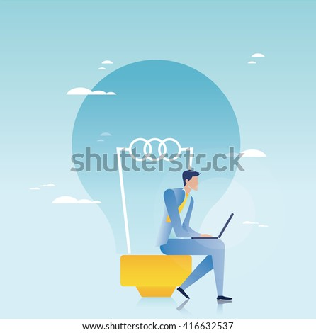 Creative business. Businessman working on laptop - stock vector