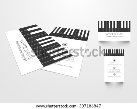 Creative business card set with illustration of piano keys for Music concept. - stock vector