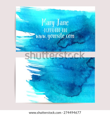 Creative business card template with artistic watercolor design - stock vector