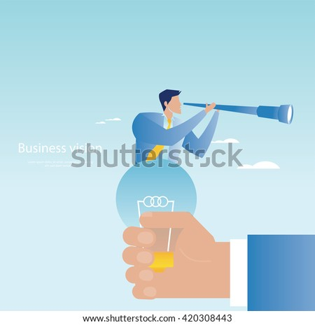 Creative business concept. Businessman holding spyglass - stock vector