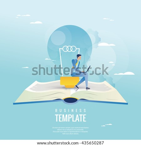 Creative business concept. Businessman with light bulb - stock vector