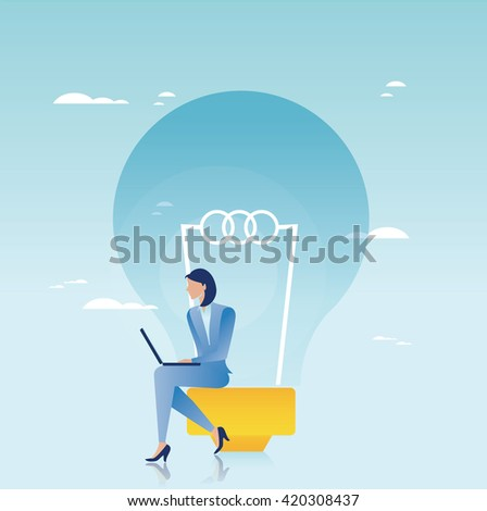 Creative business concept. Businesswoman working on laptop - stock vector