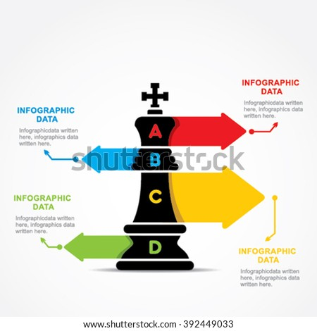 creative business info-graphic by chess king design vector - stock vector