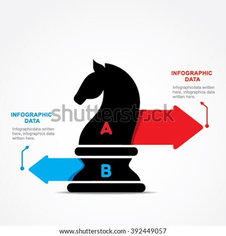 creative business info-graphic by chess Knight design vector - stock vector